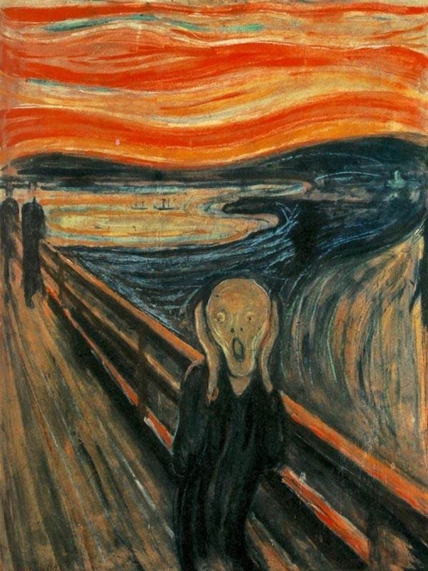 Obraz Krzyk Edvarda Muncha - reprodukcja obrazu na płótnie fototapeta, plakat