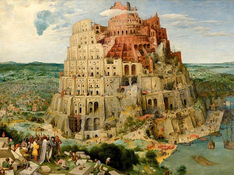 Obraz Wieża Babel, obraz olejny Pietera Bruegla - reprodukcja obrazu na płótnie fototapeta, plakat