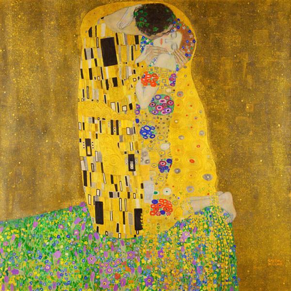 Obraz Pocałunek Gustava Klimta - reprodukcja obrazu na płótnie fototapeta, plakat