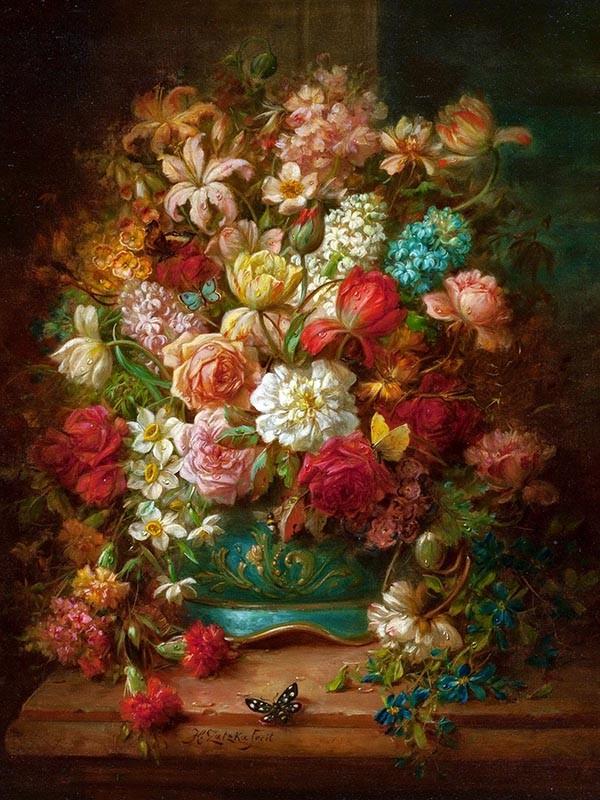 Obraz Hans Zatzka kolorowe kwiaty - reprodukcja obrazu na płótnie fototapeta, plakat