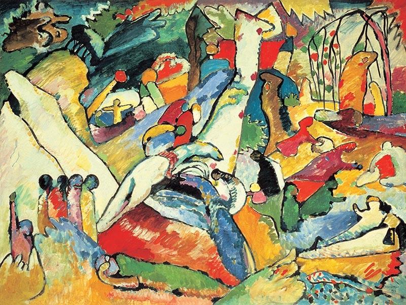 Obraz Wassily Kandinsky Kompozycja II - reprodukcja obrazu na płótnie fototapeta, plakat