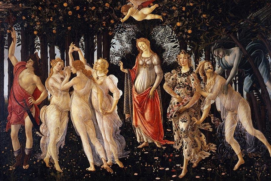 Obraz  Primavera – obraz włoskiego malarza Sandro Botticellego, reprodukcja obrazu na płótnie fototapeta, plakat
