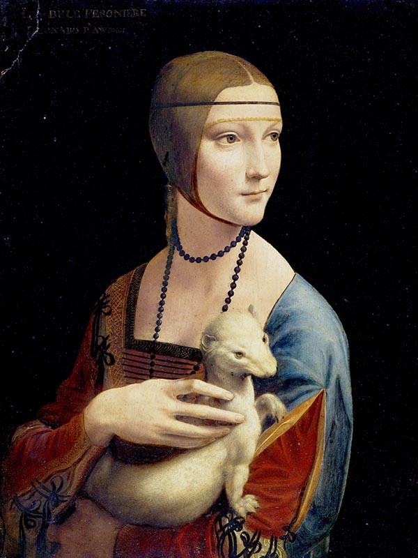 Obraz Dama z gronostajem Leonarda da Vinci - reprodukcja obrazu na płótnie fototapeta, plakat