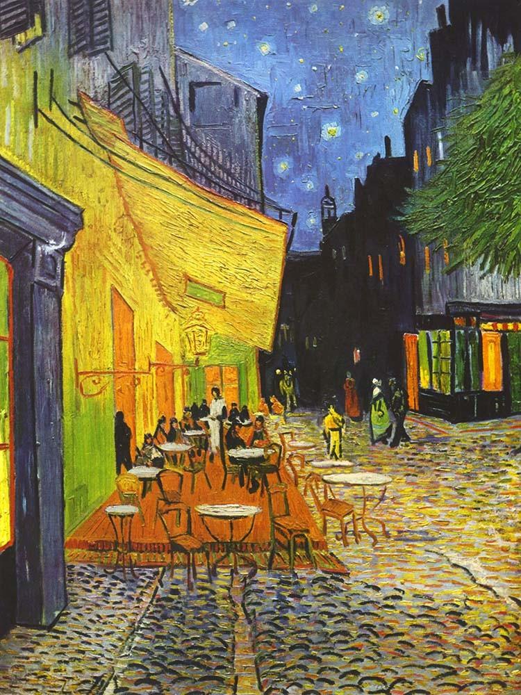 Obraz Taras kawiarni w nocy Vincent van Gogh - Reprodukcja obrazu na płótnie fototapeta, plakat