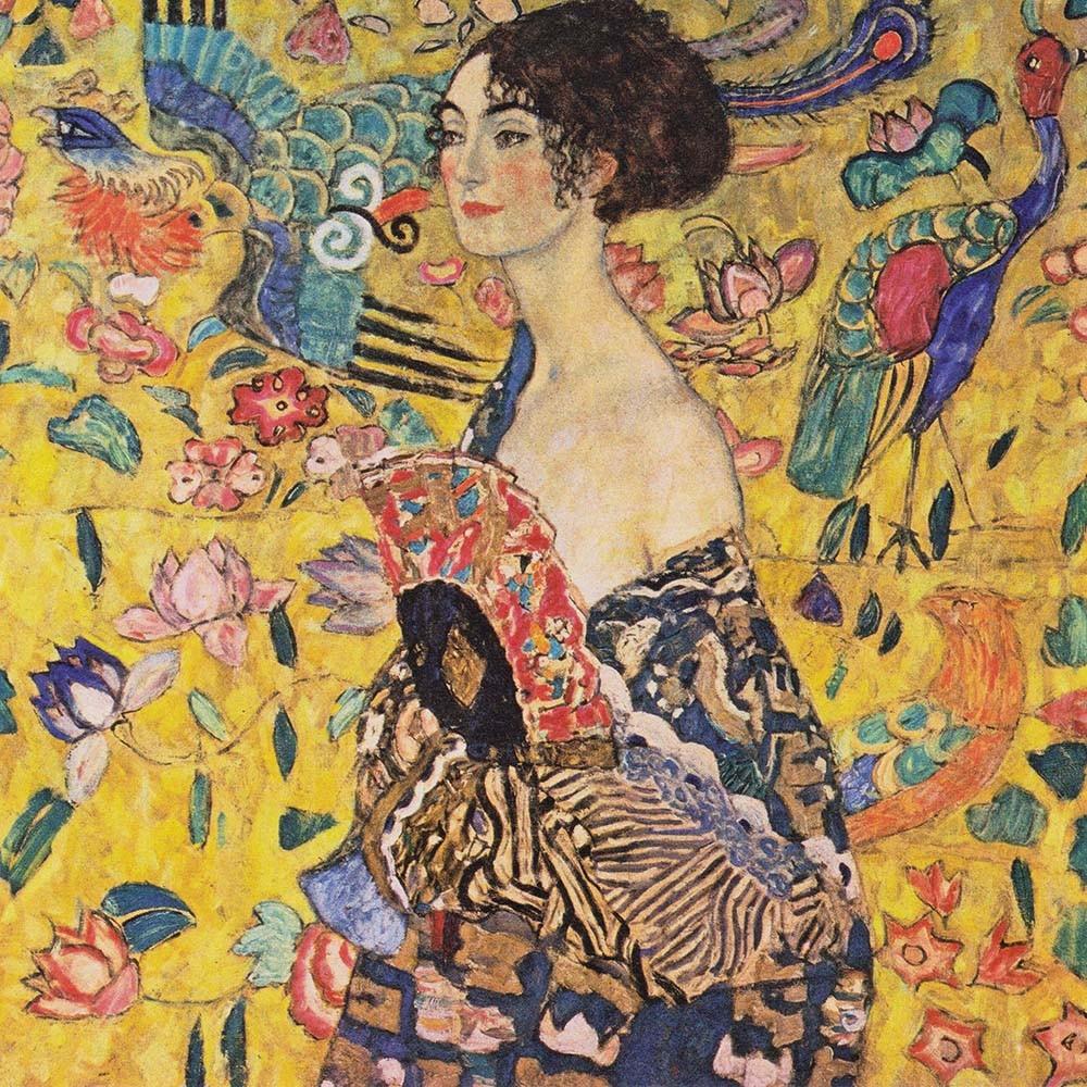 Obraz Lady with fan Gustav Klimt - Reprodukcja obrazu na płótnie fototapeta, plakat
