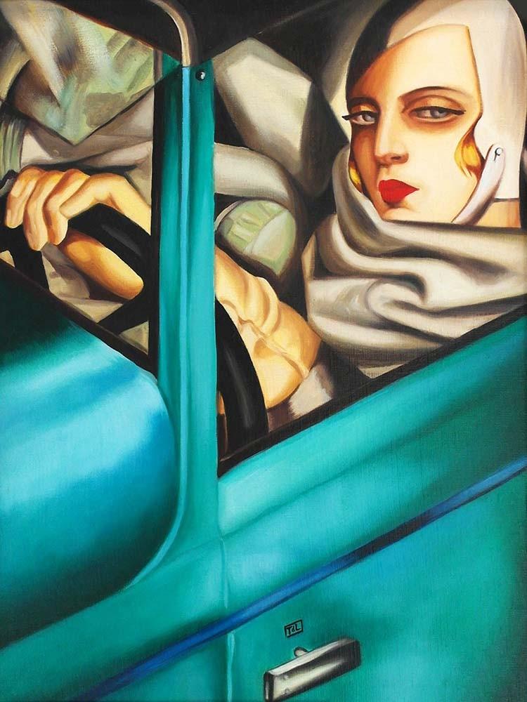 Obraz Tamara Łempicka w zielonym bugatti - reprodukcja obrazu na płótnie fototapeta, plakat