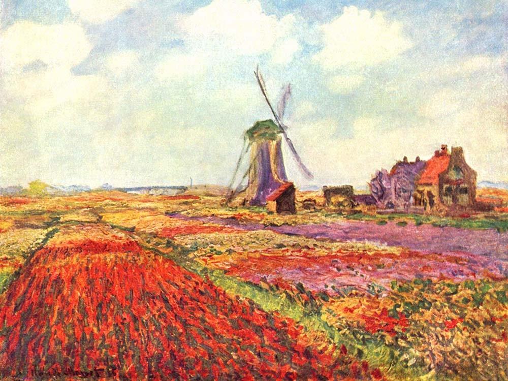Obraz Pole tulipanów w Holandii Claude Monet - Reprodukcja obrazu na płótnie fototapeta, plakat