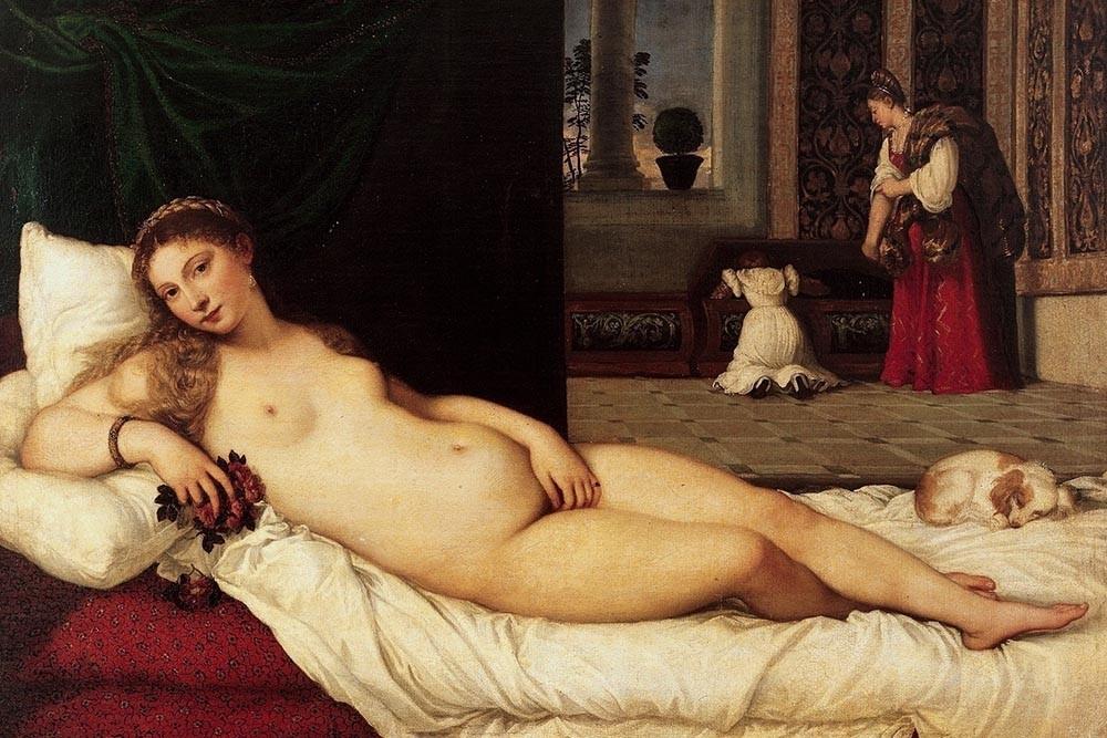 Obraz Wenus z Urbino Tycjana - reprodukcja obrazu na płótnie fototapeta, plakat