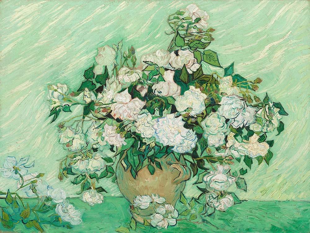 Obraz Wazon z różami Vincent van Gogh - Reprodukcja obrazu na płótnie fototapeta, plakat