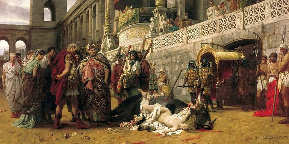 Obraz Dirce chrześcijańska Henryk Siemiradzki - reprodukcja obrazu na płótnie fototapeta, plakat