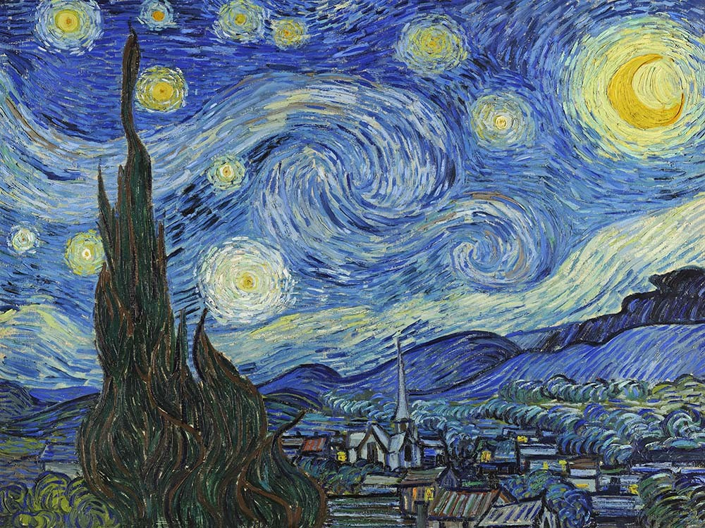 Obraz Gwiaździsta noc, Vincent van Gogh - reprodukcja obrazu na płótnie fototapeta, plakat