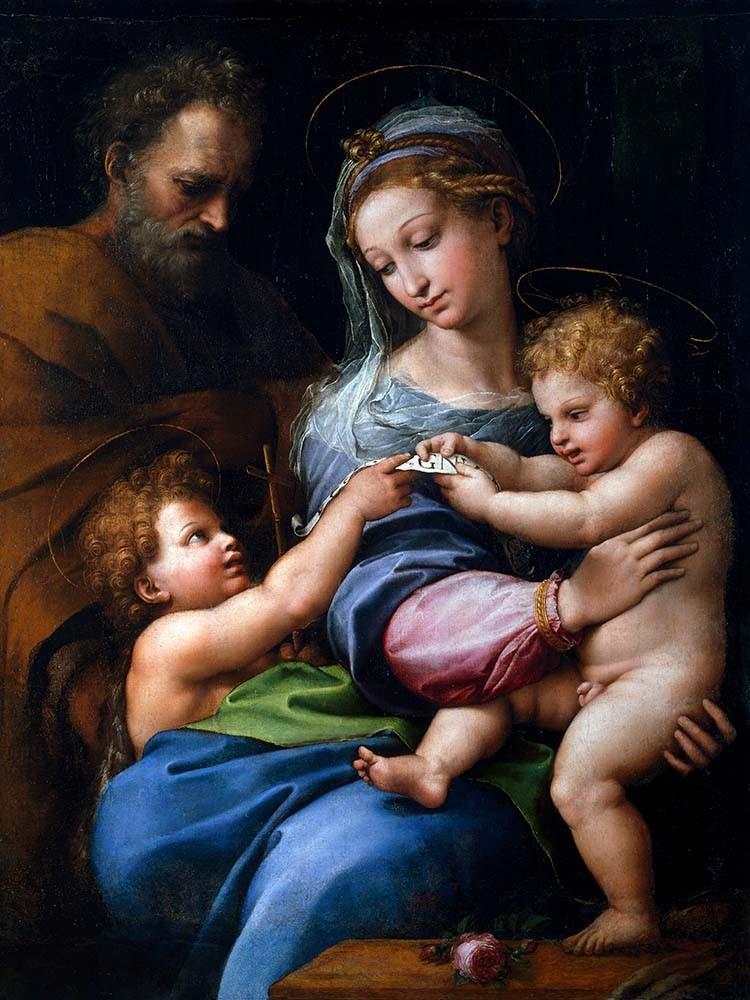 Obraz Madonna della Rosa Raffaello Santi - reprodukcja obrazu na płótnie fototapeta, plakat